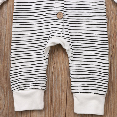 Image of BUTTONED STRIPE-HOODED JUMPSUIT - Elsa Bella Baby