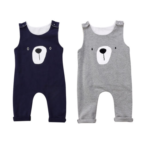 BEAR ROMPER/BODYSUIT (BLUE AND GRAY) - Elsa Bella Baby