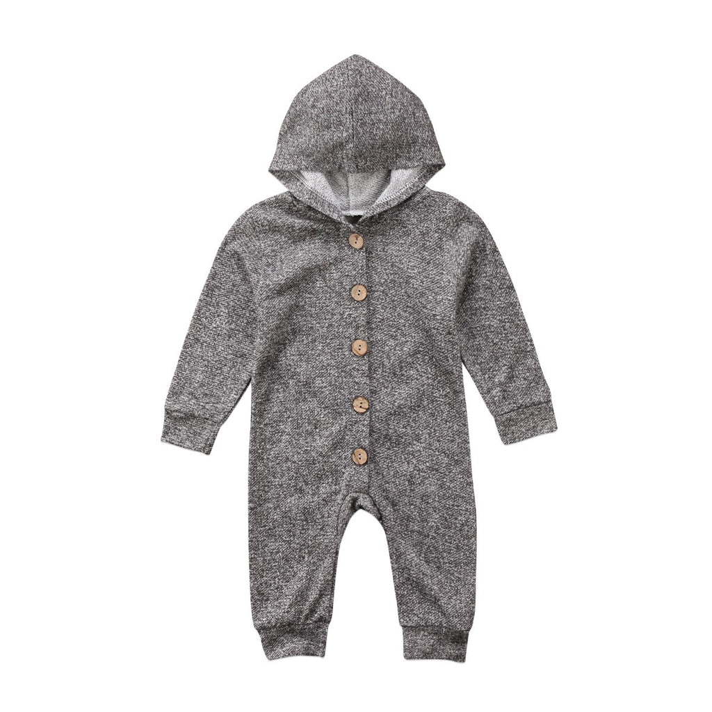Grey Ash Long Sleeve Hooded Jumpsuit - Elsa Bella Baby