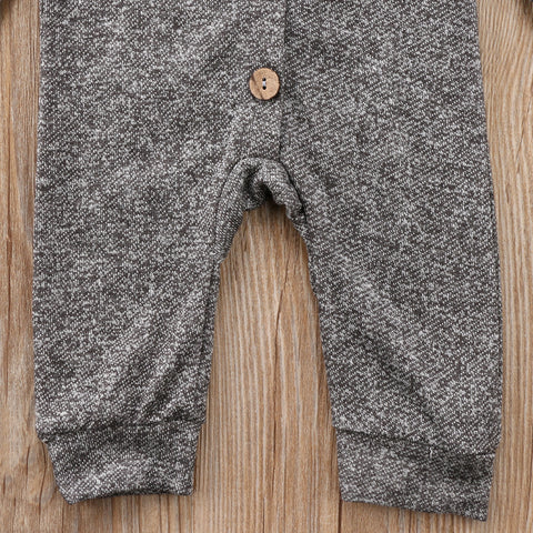 Image of Grey Ash Long Sleeve Hooded Jumpsuit - Elsa Bella Baby