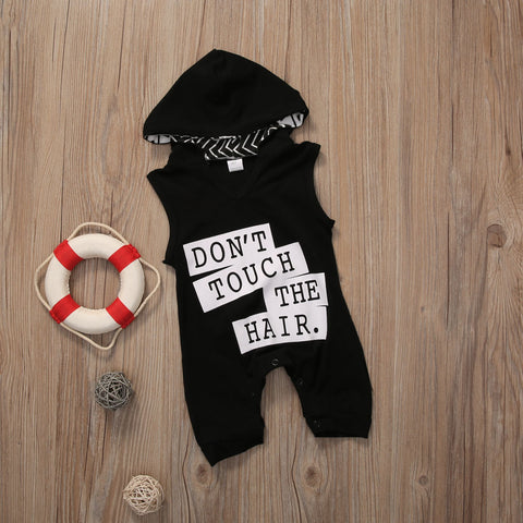 Image of DON'T TOUCH THE HAIR HOODED ROMPER/JUMPSUIT - Elsa Bella Baby