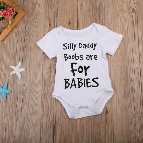 Image of SILLY DADDY BOOBS ARE FOR KIDS ROMPER - Elsa Bella Baby