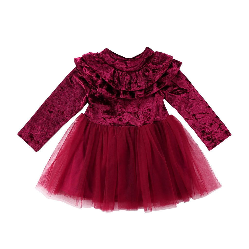 Victoria Velvet Ruffles Dress/Gown (Red Wine) - Elsa Bella Baby