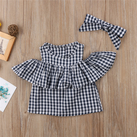 MOMMY + ME GINGHAM CUT-OUT-SHOULDER TOP AND HEADBAND (MORE COLORS)