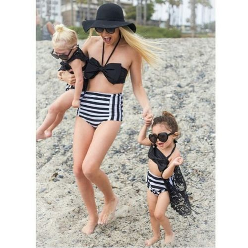 MOMMY & ME HIGH WAISTED SWIMMING SUIT (BLACK STRIPE)