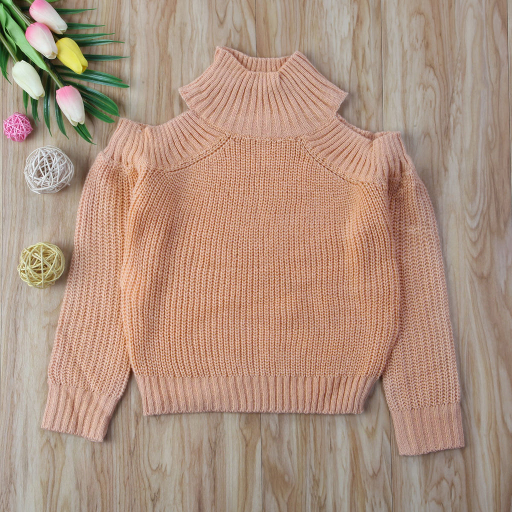 MOMMY + ME SHOULDER CUTOUT (COLD-SHOULDER) SWEATER
