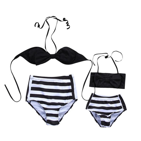 Image of MOMMY & ME HIGH WAISTED SWIMMING SUIT (BLACK STRIPE)