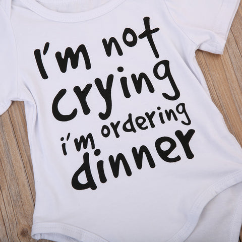 Image of I'M NOT CRYING, I'M ORDERING DINNER ROMPER - Elsa Bella Baby