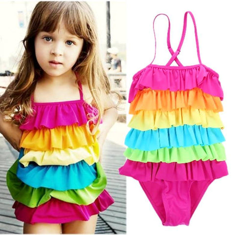 Image of ALOHA RAINBOW ONE-PIECE SWIMSUIT - Elsa Bella Baby