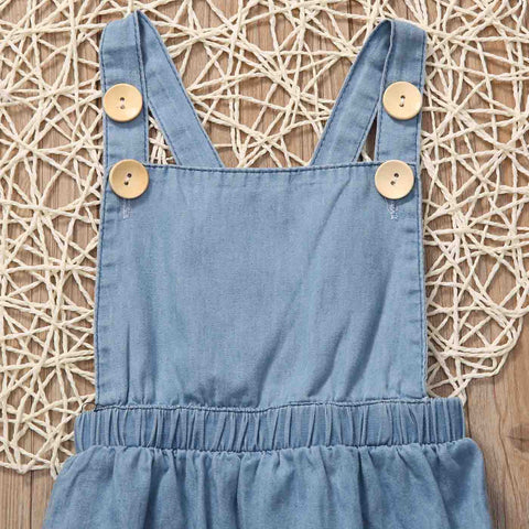 Image of DENIM OVERALL ROMPER - Elsa Bella Baby