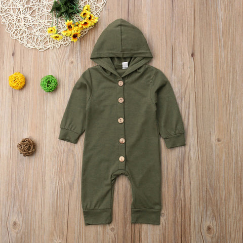 Image of Cute Newborn Infant Baby Boy Girl Kids  Long Sleeve Cotton Hooded Romper Jumpsuit Clothes Outfit Autumn