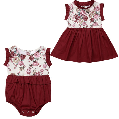 Gemma Big Sis & Lil Sis Matching Romper/Dress - Elsa Bella Baby