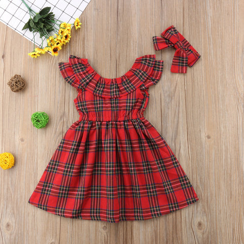 Image of Carolyn Christmas Plaid Dress with Bow - Elsa Bella Baby