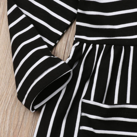 Image of Everly Striped Black Dress
