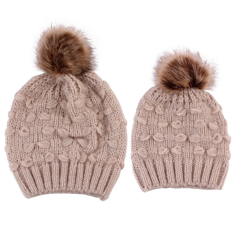 Image of Penny Fur Pom Matching Beanie (2-Piece)