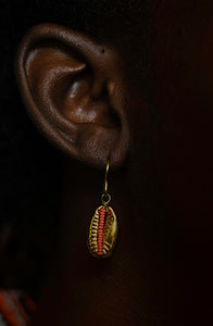 Beaded Cowrie Earrings