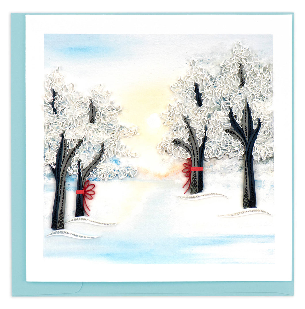Quilling Card - Snow Covered Trees