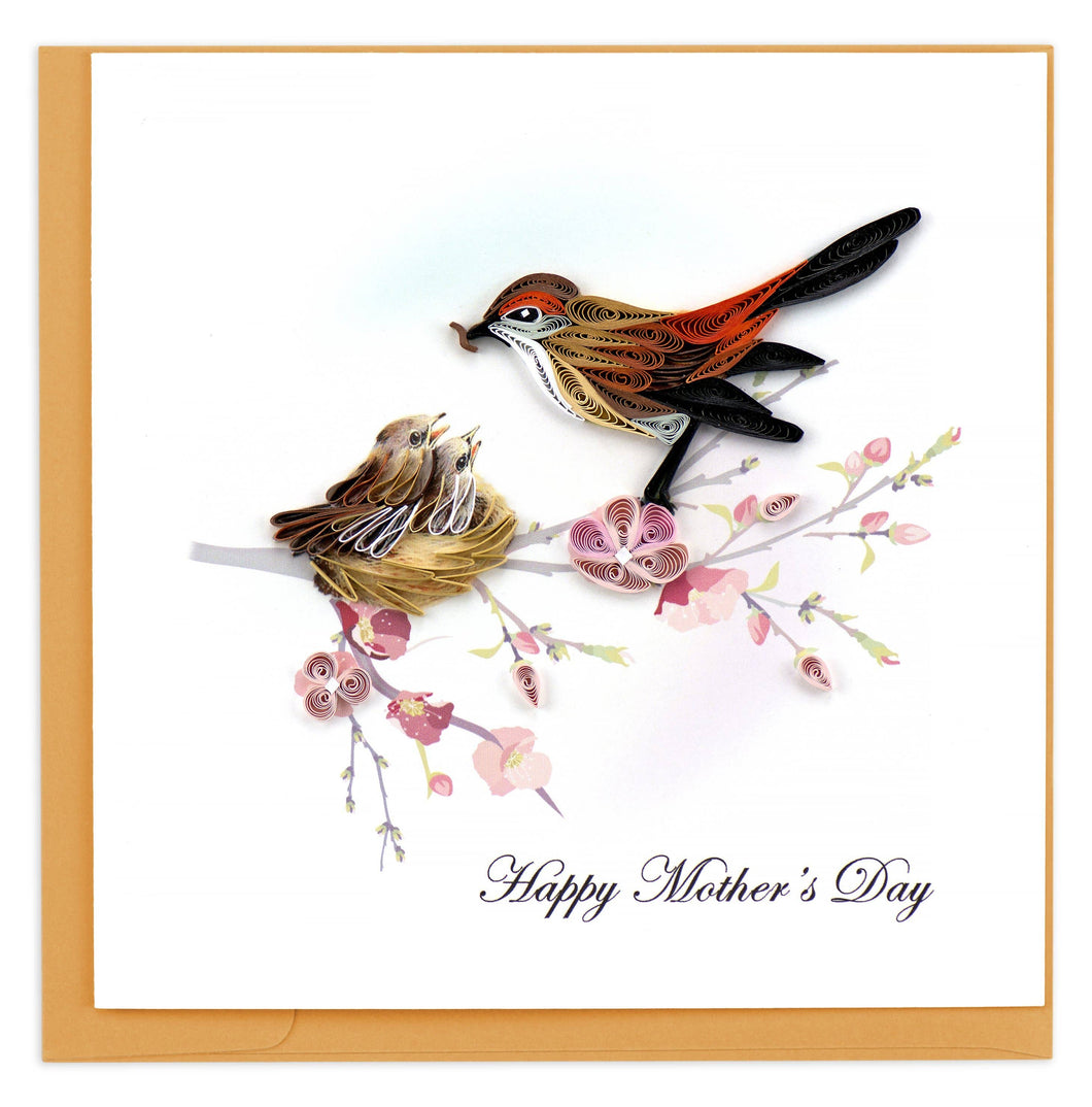 Quilling Card - Mother Bird & Babies