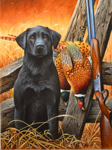 Load image into Gallery viewer, Black Lab and Pheasant Original by Jerry Gadamus