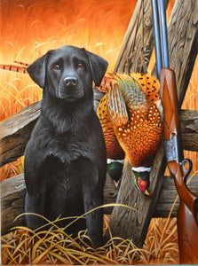 Black Lab and Pheasant Original by Jerry Gadamus