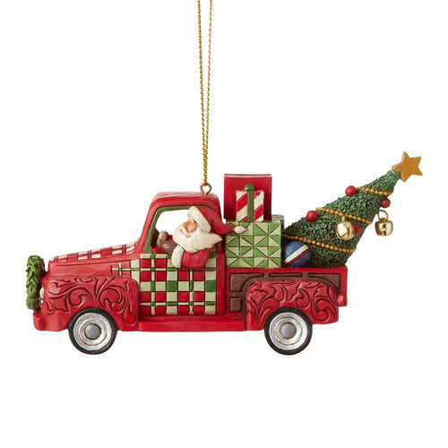 JS CLV Santa Red Truck Ornament
