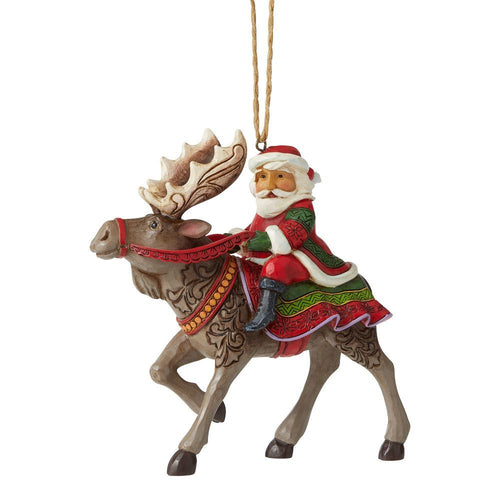 JS HWC Santa Riding Moose Orn