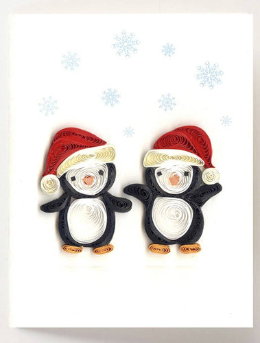 Quilling Card - Christmas Penguins