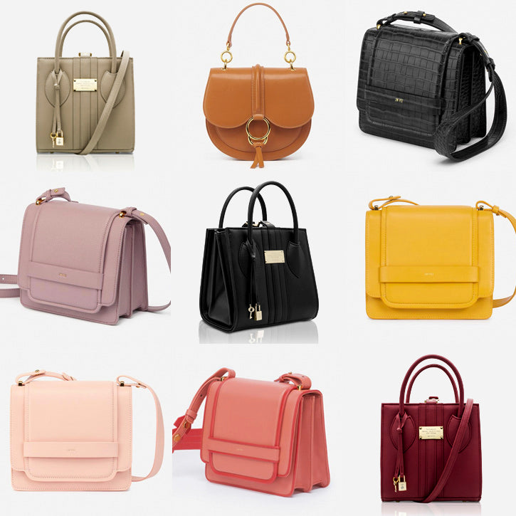 6 different imitation leather hand bags