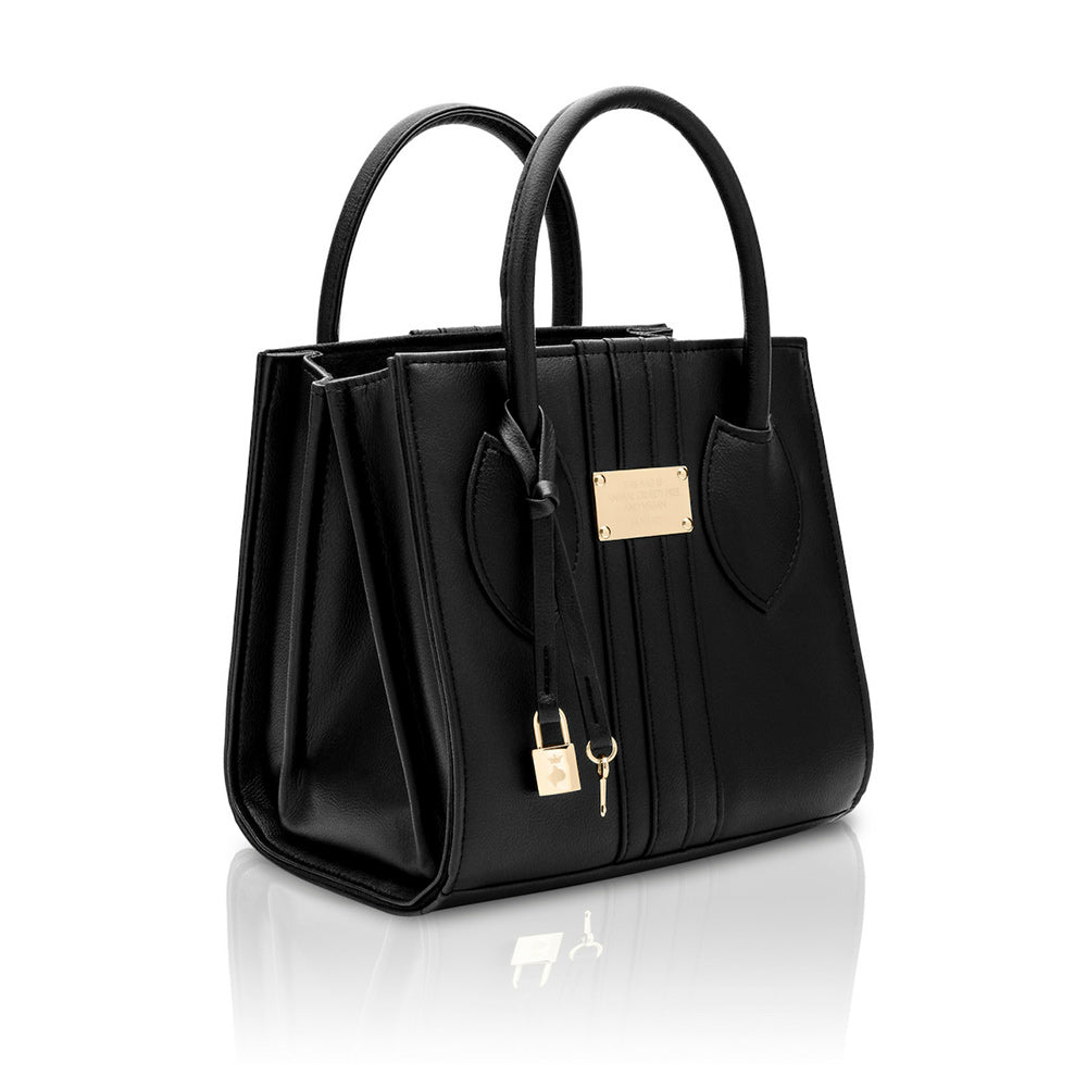 Side of the 1.6 Mini Black Apple bag, a small square shaped black vegan tote style bag with gold hardware.