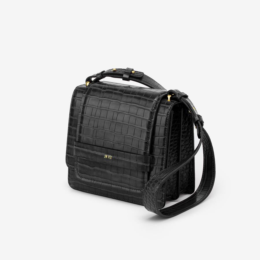 Side view of The Fiona Bag in Black Croc a crossbody vegan bag.