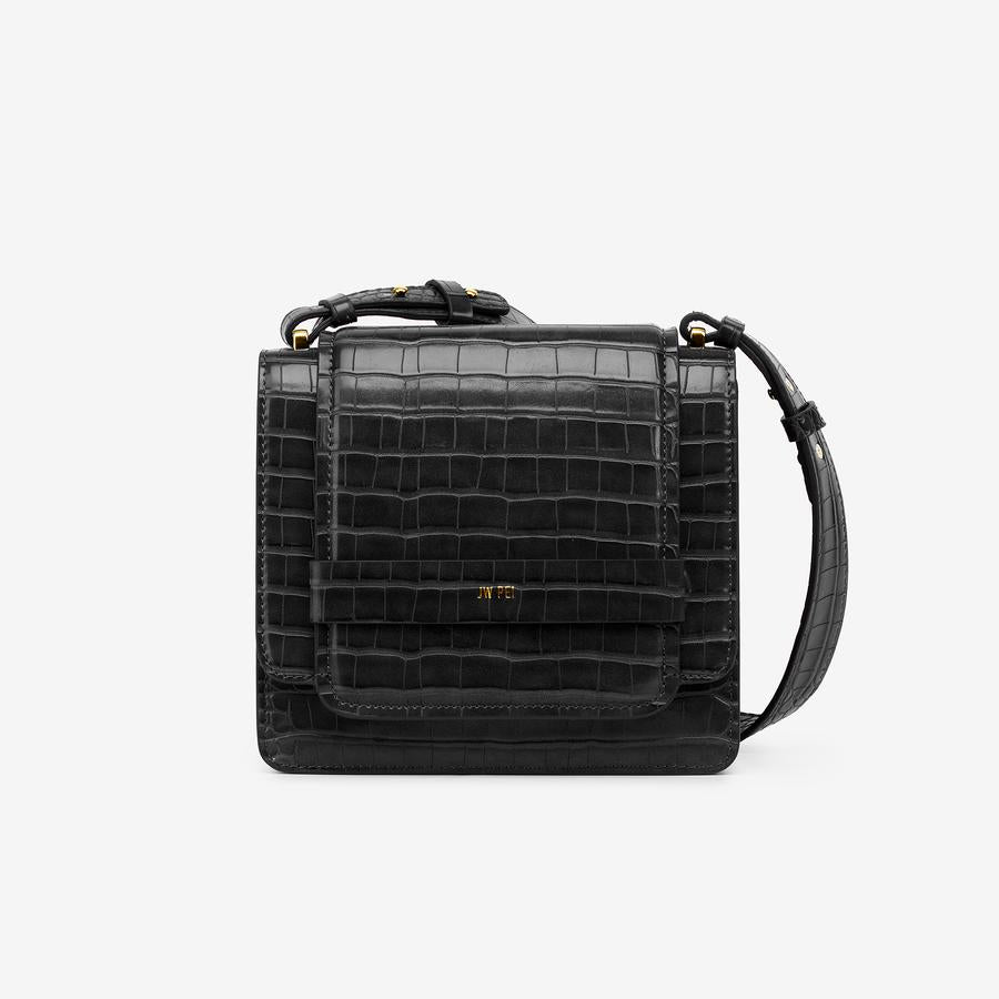 Front view of The Fiona Bag in Black Croc a crossbody vegan bag.