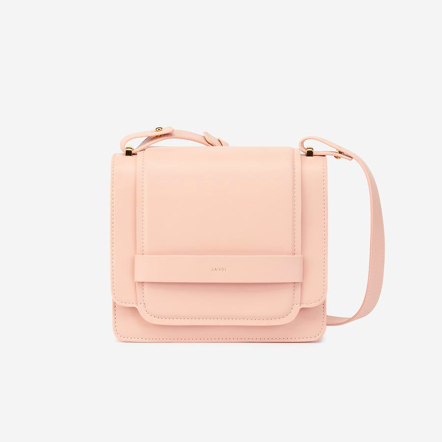 Front view of The Fiona Bag Blush crossbody vegan bag.