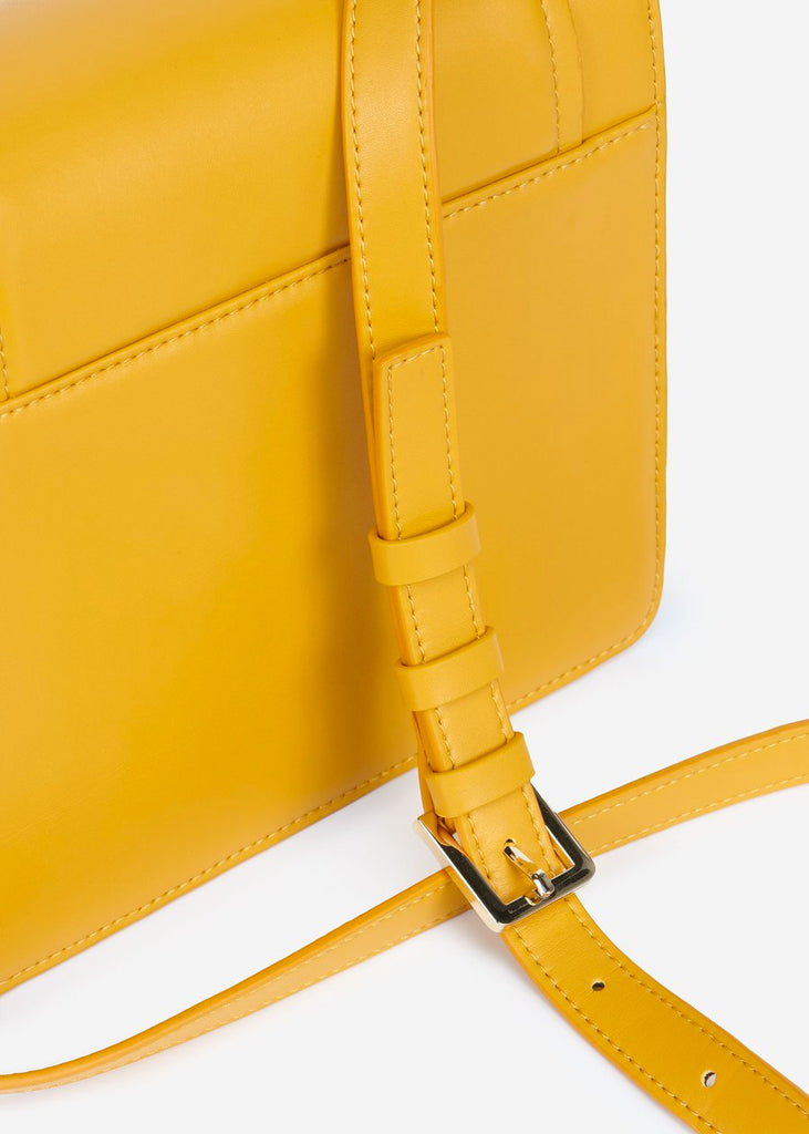 Rear view of The Fiona Bag Mustard crossbody vegan bag.