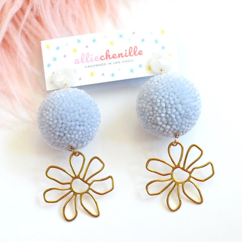 brass flower pom pom earrings