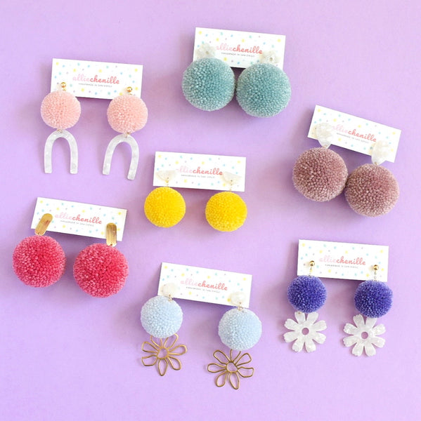 Pom pom arch earrings