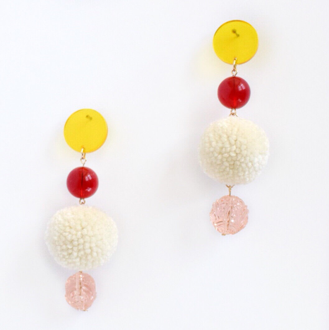 Red tiered tassel earring by Allie Chenille