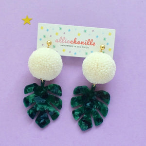 Green monstera leaf pom pom earrings