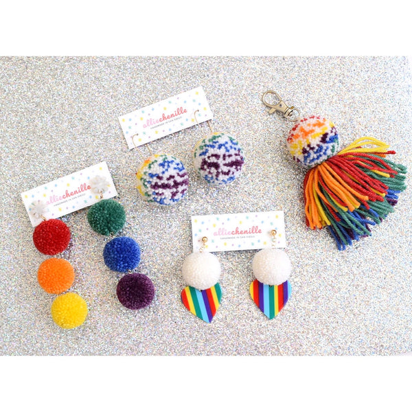 rainbow pom pom earrings and accessories by Allie Chenille