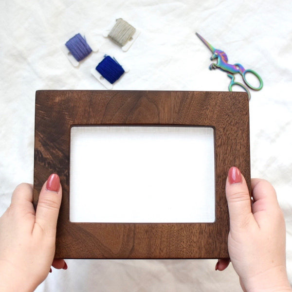 Walnut rectangle embroidery frame (wide)