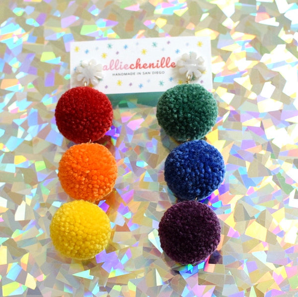 rainbow triple pom pom earrings