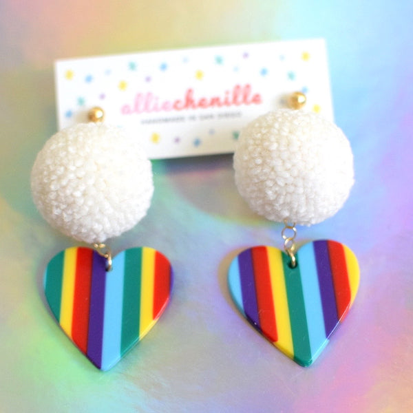 rainbow heart pom pom earrings