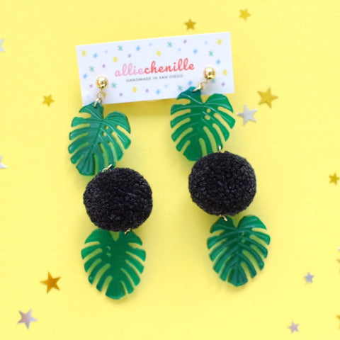 Double monstera leaf pom pom earrings