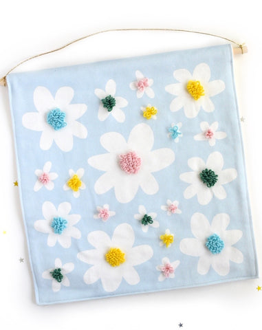 Daisy punch needle wall hanging
