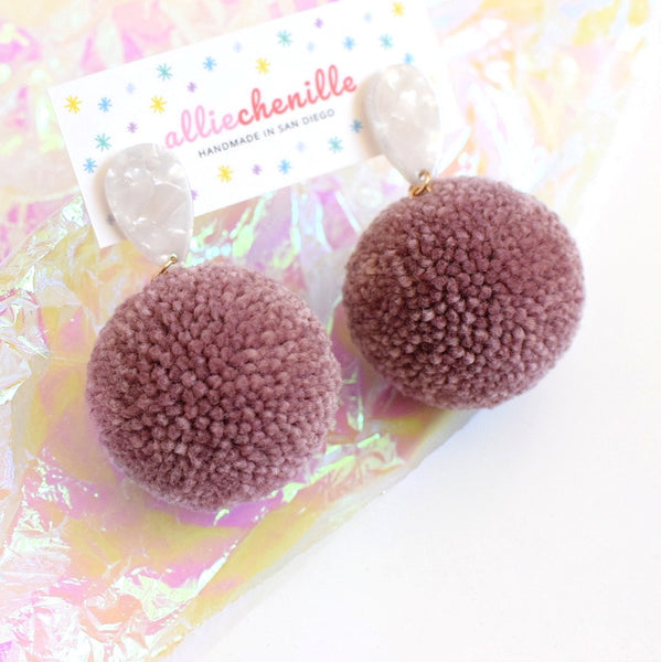 Teardrop pom pom earrings