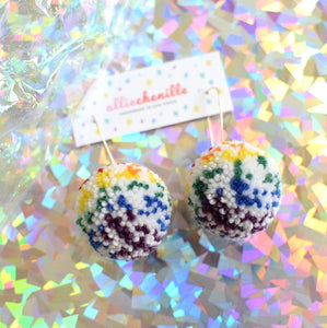 rainbow speckle pom pom earrings