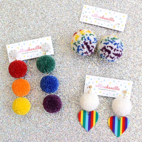 rainbow pom pom earrings by Allie Chenille