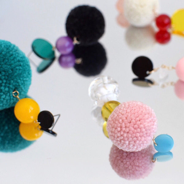 pom pom earrings by Allie Chenille