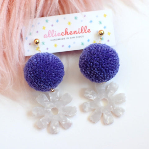 Flower power pom pom earrings