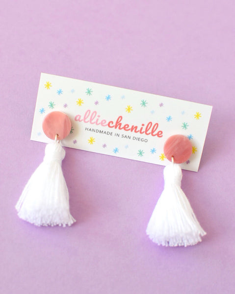 white single tassel earring handmade by Allie Chenille