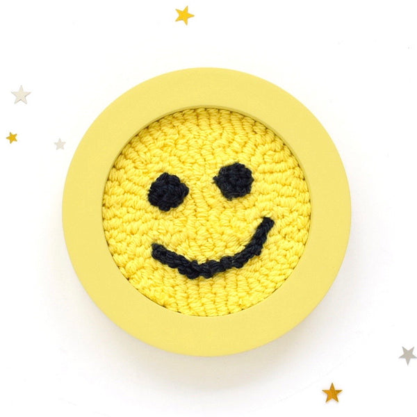 smiley face punch needle art
